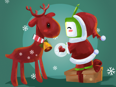 Merry Christmas christmas paint hand-draw cg comic red green cute deer