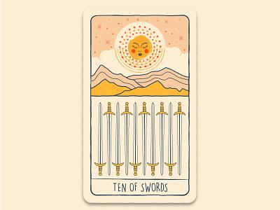 Ten of Swords tarot tarot card mystic poster moon branding vector illustration design