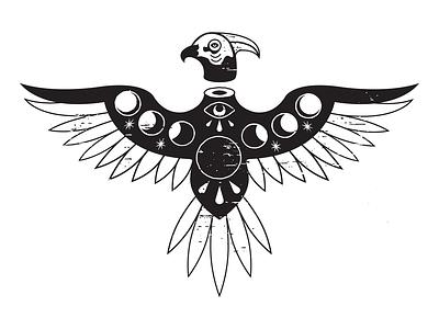 Thunderbird mystic moonphases moon eagle thunderbird vector illustration design