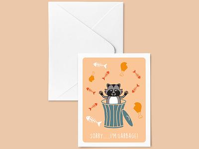 Sorry I'm Garbage! greetingcard illustration vector design raccoon