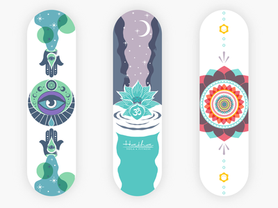 Hatha Yoga thirdeye chakras moon skate deck yoga branding illustration