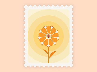 Marigold Stamp stamp flower marigold branding design vector illustration