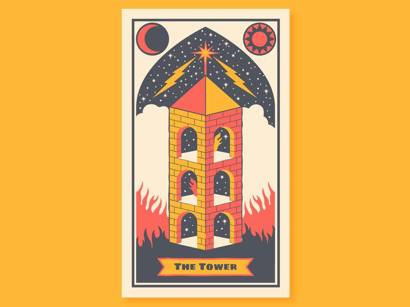 The Tower tower tarot card tarot deck tarot mystic moon vector illustration design