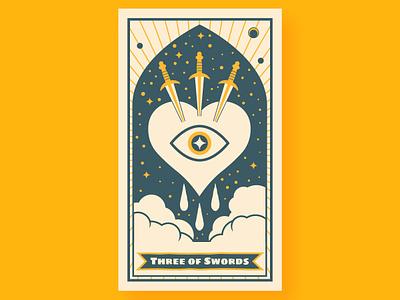 Three Of Swords Tarot eye sword magic tarot card tarot mystic poster moon vector illustration design