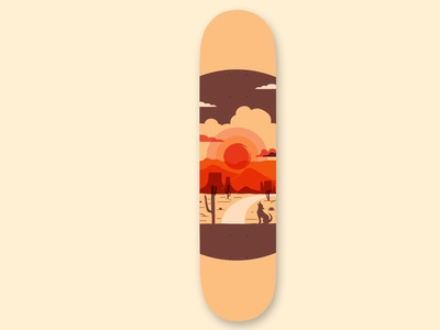 Desert Sunset desert cactus arizona monument valley skateboards skateboard vector illustration design