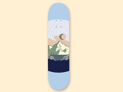 Mountain Skateboard forest lake mountain outdoors outdoor poster moon branding vector illustration design