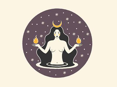 Hecate tarot tarot card birmingham mystic poster moon branding vector illustration design
