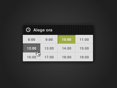 Hour Picker hour picker appointment calendar ui time