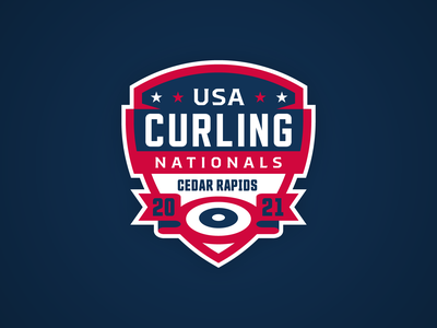 USA Curling Nationals Concept brand iowa united states usa curling crest logo