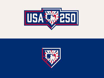 MLB USA 250th Celebration major league baseball rebrand concept logo united states usa baseball mlb