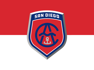 Albion San Diego red navy nautical logo crest football soccer usa san diego