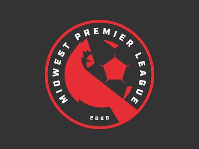 Midwest Premier League illinois indiana ohio michigan bird cardinal branding design illustration logo crest football soccer