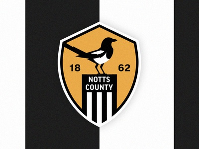 Notts County FC stripes year bird magpie soccer football logo crest nottingham notts county