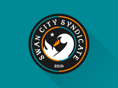 Swan City Syndicate crest orange teal star flame swan football supporters soccer