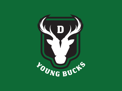 Young Bucks Curling green curling deer stag illustration design crest logo