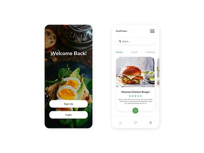 Recipe Mobile Ui foodui app food app menu login phone uiux ui food recipe