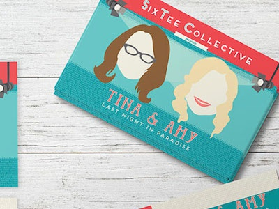Tina & Amy Postcards tina fey amy poehler snl nyc theatre play actress lips glasses spotlight