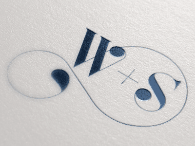 W+S Logo navy letterpress married stephanie william lovers branding logo swash wedding initials