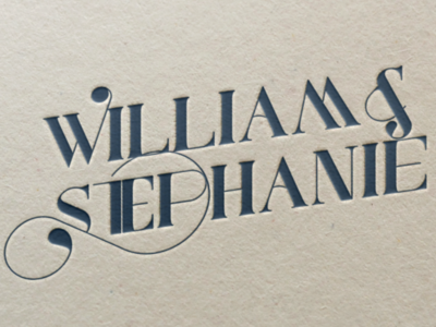 William & Stephanie Logo letterpress navy port vintage swash stephanie william groom bride logo branding wedding