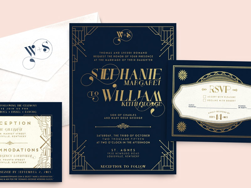 W+S Wedding Invitation Suite port vintage rsvp reception logo stamp navy foil gold cards suite invitation wedding