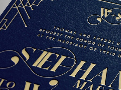 W+S Wedding Invitation gillespie kentucky swash card invitation wedding port vintage navy foil stamp foil gold