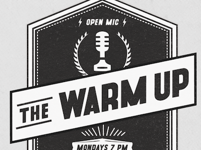 THE WARM UP Lockup texture badge lightning bolt microphone open mic theater storytelling comedy logo lockup