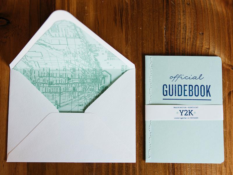 Y2Kasnic Wedding Invitation Guidebook and Envelope Liner destination wedding belly band sewn binding stamp invitation handmade map vintage guidebook wedding chicago