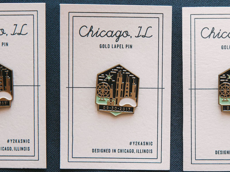 Gold Enamel Pins - Y2Kasnic Wedding Favors ferris wheel hancock bean buildings architecture chicago lapel pin enamel pin gold branding wedding