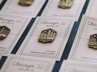 Y2Kasnic Wedding Lapel Pins ferris wheel wedding lapel pin hancock gold enamel pin chicago buildings branding bean architecture