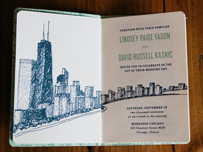 Y2Kasnic Wedding Invitation – Chicago Guidebook skyline booklet chicago wedding handmade guidebook invitation sewn binding sketch handdrawn