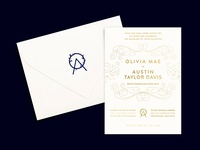 O+A Wedding Invitation + Logo Stamped Envelope letter logo wedding logo line art wedding invitations gold foil garden kentucky gold foil stamp logo stamp rubber stamp envelope wedding invitation wedding invite stamp navy gold branding invitation logo wedding