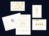O+A Wedding Suite rsvp wedding map garden wedding logo wedding invitations gold foil stamp wedding branding wedding suite wedding invitation illustration map logo typography design stamp navy gold invitation branding wedding