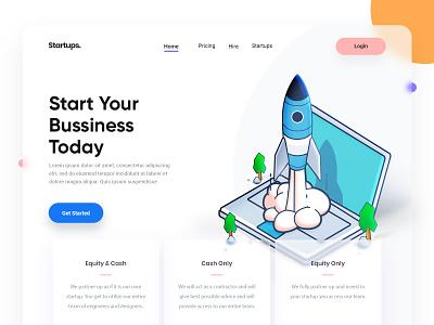 Startups Concept startup landing web page design illustration arslan pakistan