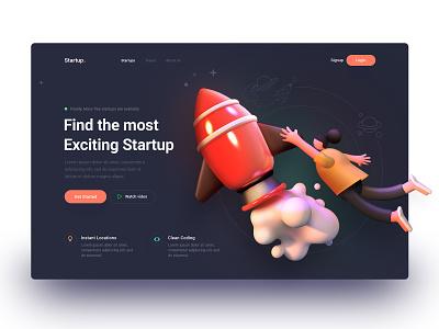 Most Exciting Startups ui landing web page design illustration arslan pakistan