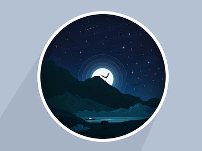 Mountain  illustration flat arslan pakistan ship bear bird moon practice mountain