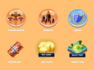 Jet Commander icons commander jet project studios gamelyu selectmap buycoins playerhelper rocket shield icons