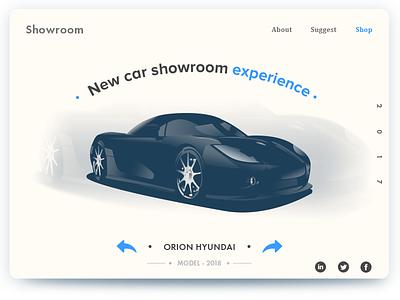 Showroom concept new car illustration page landing design web showroom