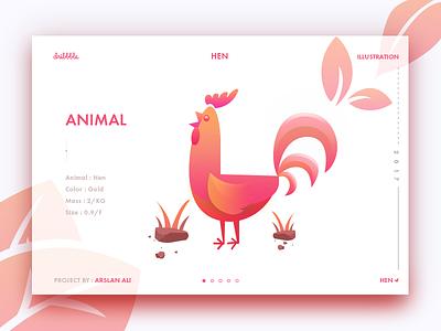 Hen ali arslan dribbble leaf illustration design web animal hen