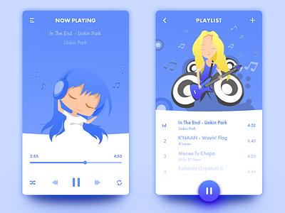 Music Player speakers illustration girl ui ali arslan player music