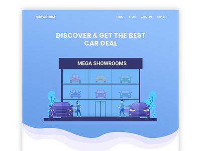 Showroom mega concept new car illustration page landing design web showroom