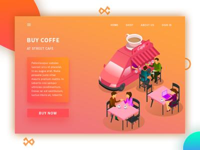 Street Cafe page landing web drinking coffe illustration women man cafe street