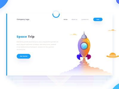 Space Trip rocket trip space illustration web landing page design arslan pakistan