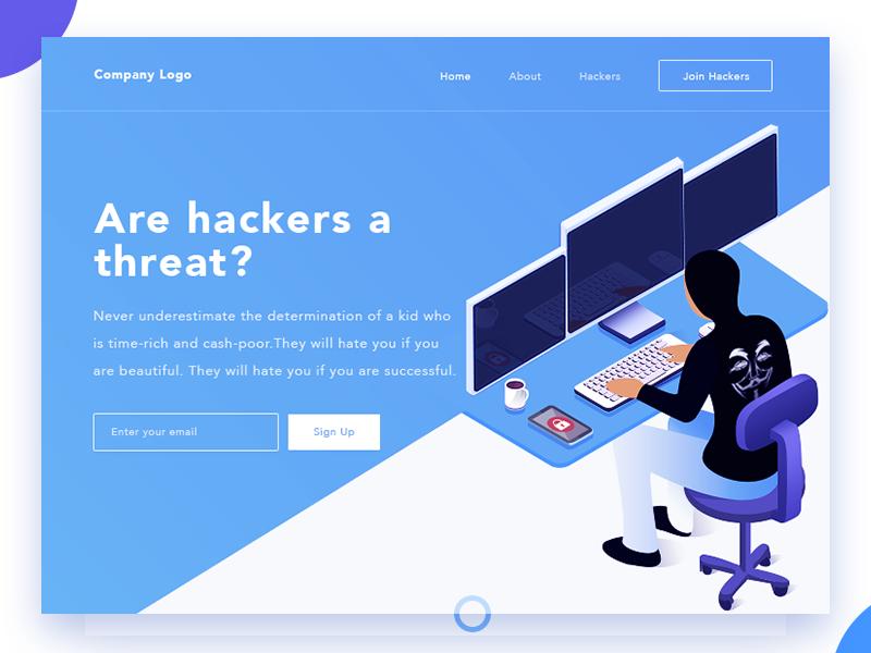 Hacker page landing web ui pakistan arslan 2.d illustration concept hacker