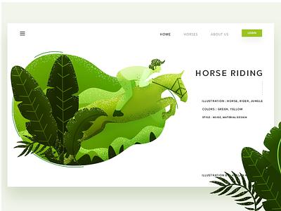 Horse Riding pakistan arslan web design landing page illustration riding horse