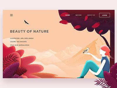 Beauty Of Nature beauty nature bird girl web landing design page arslan pakistan illustration