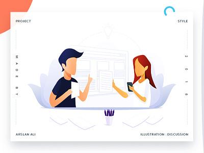 Discussion discussion web landing design page illustration arslan pakistan