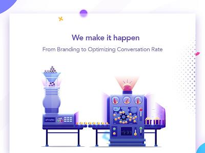 We make it happen optimizing branding we make it happen section machine factory landing web design page illustration arslan pakistan