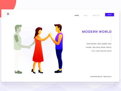 Modern World world modern love landing web design page illustration pakistan arslan