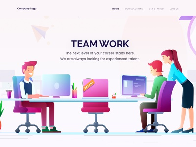 Team Work work team concept landing web page design illustration arslan pakistan