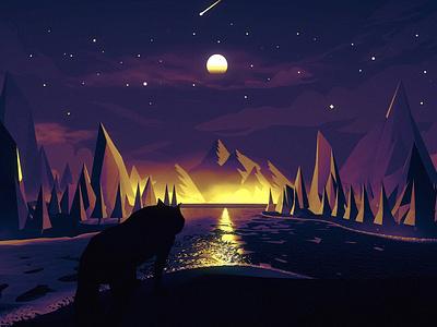 Fox water mountain fox animation concept design illustration arslan pakistan